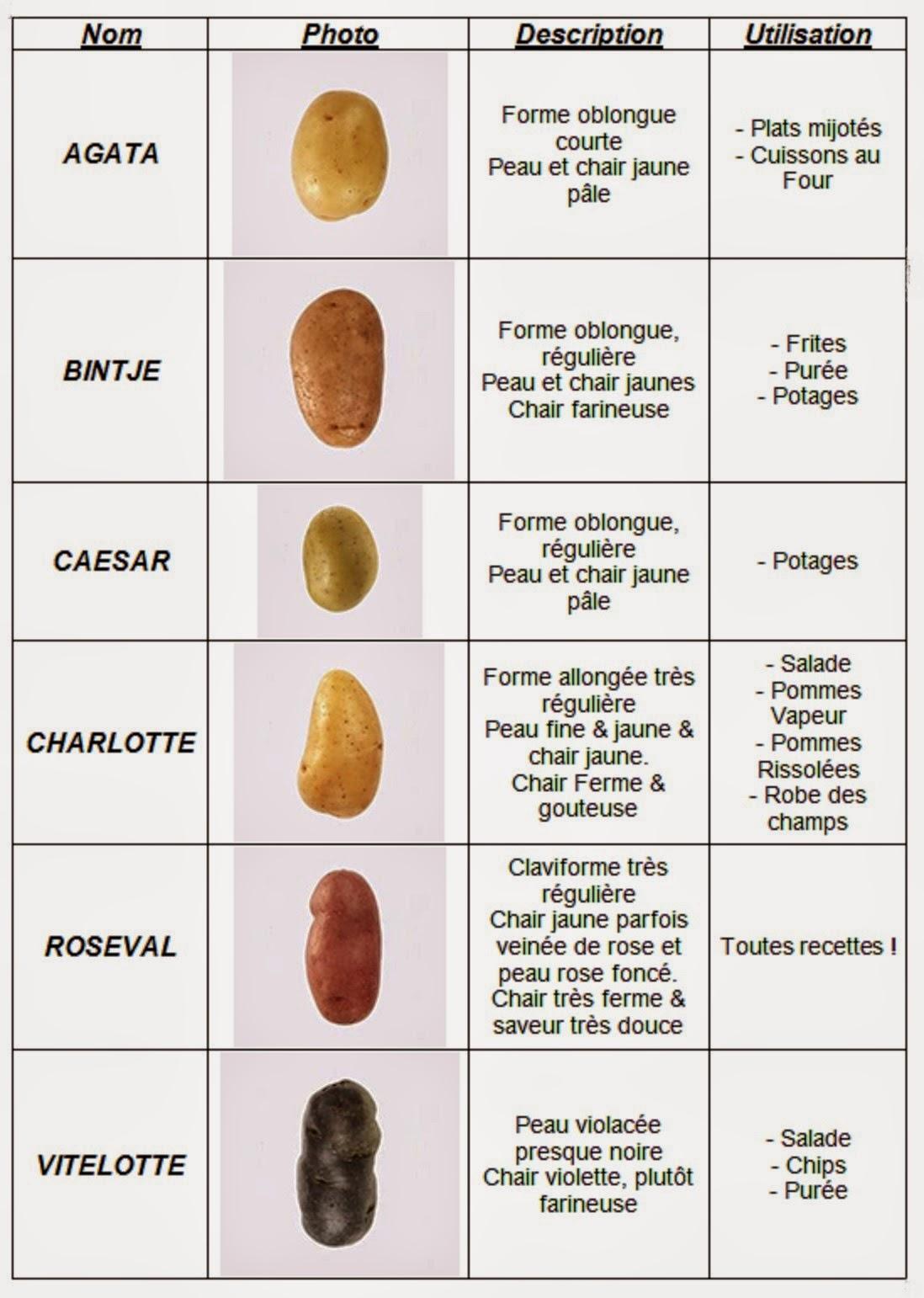Envie de pommes de terre - Tableau pomme de terre varietes ...