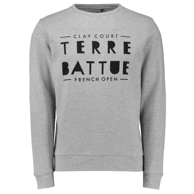 RG16 - Sweatshirt en molleton non gratté - Imprimé « Message » - Capsule French Open – Coloris Gris chiné – 60e