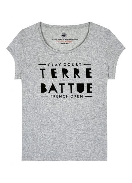 RG16 - T-shirt femme en jersey - Imprimé « Message » - Capsule French Open – Coloris Gris chiné – 35e