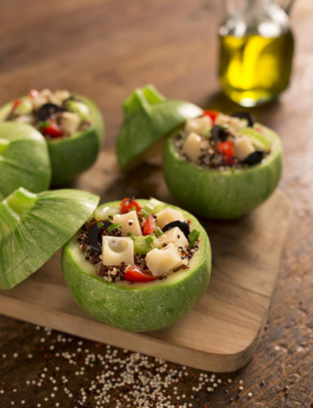 Courgettes farcies au quinoa et à l'Emmental